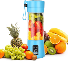 Dr.me Portable Blender, Personal Mixer Fruit Rechargeable with USB, Mini Blender for Smoothie, Fruit Juice, 380ml, Six 3D Blades for Great Mixing (Blue)