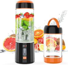 LOZAYI Portable Blender Travel USB Rechargeable Juicer Cup, Cordless Mini Blender with Led Displayer for Outdoor Travel-(Orange)