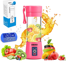 OBERLY Portable Blender/Juicer Cup – Six 3D Blades, 13-Oz with 2000mAh USB Rechargeable Batteries, Ice Tray, Detachable Cup, Perfect Blender for Personal Use (FDA, BPA Free)