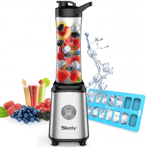 Sboly Personal Blender, Single Serve Small Blender for Juice, Shakes and Smoothie with 20-Oz Tritan BPA-Free Blender Cup, 300W (with Silicone Ice Cube Tray/Bottle Brush)