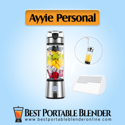Ayyie Personal Blender - Multifunctional Mini Travel Blender with fruit ingredients, ice cubes, strap for carrying and ice tray