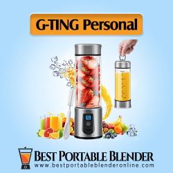 G-TING Portable Blender - [Cordless Single Serve] Mini Juice Mixer with fruit ingredients and a hand holding the bottle