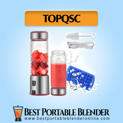 TOPQSC Best Portable Blender for Personal Use - [Budget Pick] with fruit ingredients, a processed smoothie drink, a USB charging cable, a cleaning brush and an ice cubes tray