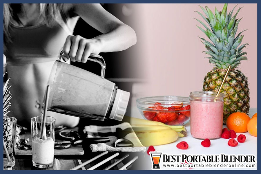 A Girl pouring a delicious strawberry, banana and pineapple smoothie drink from Blender