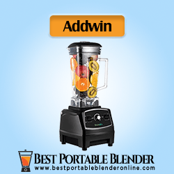 Addwin BioloMix Countertop Portable Blender for Crushing Ice - Professional Commercial Mixer 70-Oz with 2200 Watt Base filled with fruits & Total Crushing Technology (Black)