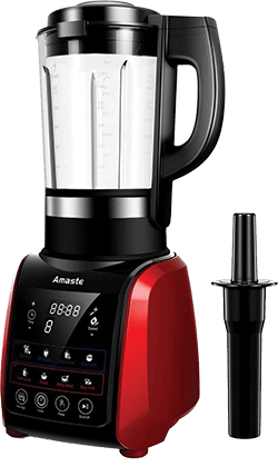 Amaste 1200W Cold and Hot Professional Countertop Blender, with Tamper, 9 Presets Function and Cookbook, Perfect for Smoothies, Soup, Grind, Protein Shakes, Nonstick Glass Jar, Red