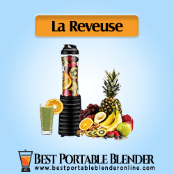 La Reveuse Portable Blender filled with fruit items and a glass filled with green smoothie