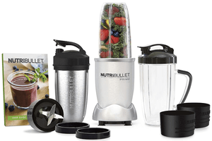 NutriBullet 1000 Watt PRIME Edition stuffed with veggies and fruit ingredients - 12 Piece High-Speed Blender Set and Recipe book