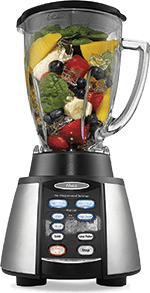 Oster Reverse Crush (BVCB07-Z00-NP0) Counterforms Blender for Crushing Ice stuffed with fruit & veggies ingredients with 7-Speed Settings and Brushed Stainless Steel, Black Finish