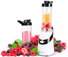 Secura Personal Blender with two (20-Oz) Single Serving Bottles, Travel Lids and fruit items