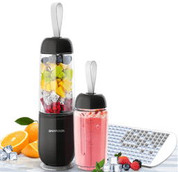 Shardor Portable Smoothie Blender (Black) - 2 Personal Size Shake Bottles, and an ice cube tray
