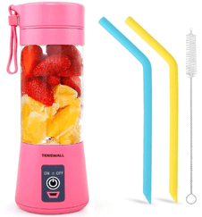 Tenswall Personal Size Blender - Mini USB Rechargeable Juice Mixer (Pink Color) with two straws and a cleaning brush