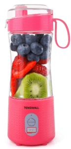 Tenswall Personal Size Smoothie Blender Pink Color stuffed with fruit ingredients