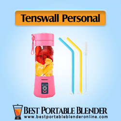 Tenswall Smoothie Blender - Mini USB Rechargeable Juicer Mixer (Pink Color) with two straws and a cleaning brush