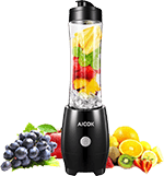 Aicok Personal Travel Blender 300W Single Serve Smoothie Maker for Juice Shakes and Smoothie with 20 oz Tritan BPA Free Travel Bottle (Upgraded), Black