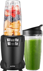 Aicok Smoothie Blender for Travel, 1200W High Speed Professional Blender with LED Smart 1 Touch, with 35-Oz and 28-Oz Tritan Cups, Black
