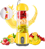 KONKA Personal Size Mini Portable Blender for travel,4000mAh Battery, 17-Oz(420ml) USB Rechargeable Juicer, Fruit Mixer Machine for Shakes and Smoothies, (Home,Office,Travel), Yellow
