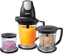 Ninja Blender Premium Pack Food Processor (QB1004) with 450-Watt Base, 48-Oz Pitcher, 16-Oz Chopper Bowl, and 40-Oz Processor Bowl for Shakes, Smoothies, and Meal Prep, Black