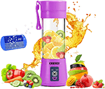 OBERLY Portable Blender for Travel, Smoothie Juicer Cup - Six Blades in 3D, 13-Oz Fruit Mixing Machine with 2000mAh USB Rechargeable Batteries, Ice Tray, Detachable Cup