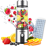 Olivivi Portable Blender for Travel, Multifunctional Mini Blender with 6 Blades, 4000mAh Rechargeable USB Juicer Cup with Strainer, a Cleaning Brush, Green