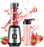 REDMOND Personal Blender 20-Oz Countertop Smoothie Blender - 20000 RPM 300W with 600ml Travel Bottle for Milk Shakes juice Fruit Vegetable BPA Free