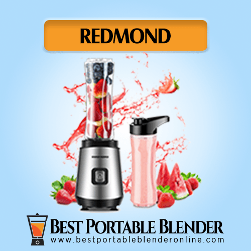 REDMOND Personal Blender filled with fruit ingredients – with 600 ml Take-Along Travel Bottle filled with smoothies