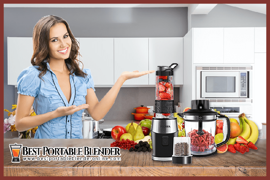 a-women-presenting-her-affordable-fochea-3-in-1-best-blender-under-100