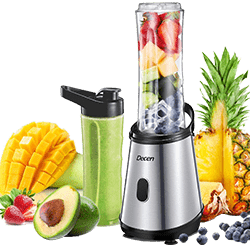 Decen Personal Blender for Shakes and Smoothies, Single Serve Blender with 2 x 20oz BPA-Free Travel Sports Bottles, Portable Mini Countertop Blender Smoothies Maker, 300W, Silver