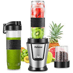 Yabano Personal Blender for shakes with 2 x 20-Oz Travel Bottle and CoffeeSpices Jar, Portable Blender and Coffee Grinder 2 in 1, 500W Single Serve Blender